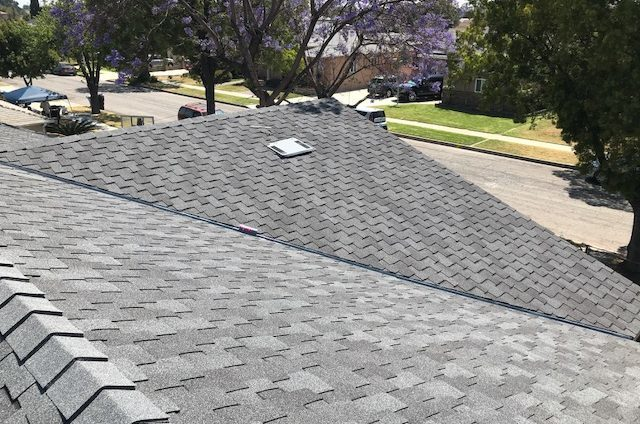 Roof Replacement on a south Los Angeles home remodel with GAF Charcoal Grand Sequoia