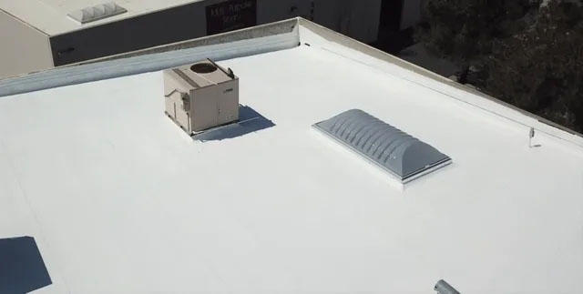 Another silicone roof restoration instead of replacement for a building off Sky Canyon Drive in Murrieta